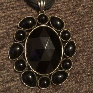 Larger black flower costume jewelry, necklace